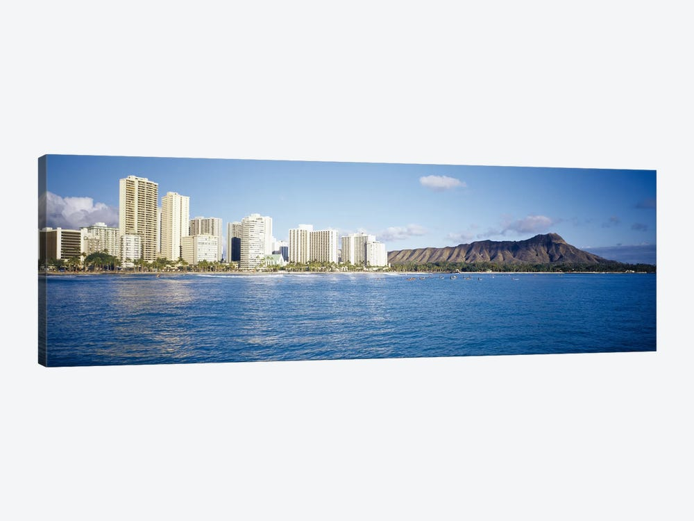 Buildings at the waterfront with a volcanic mountain in the background, Honolulu, Oahu, Hawaii, USA 1-piece Art Print