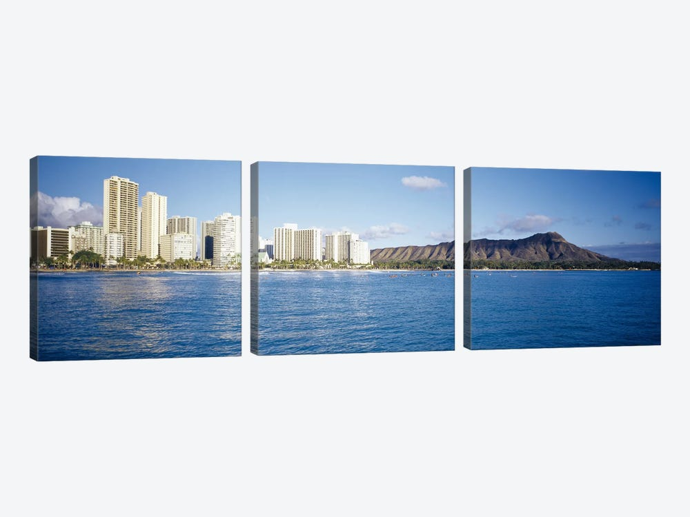 Buildings at the waterfront with a volcanic mountain in the background, Honolulu, Oahu, Hawaii, USA by Panoramic Images 3-piece Canvas Print