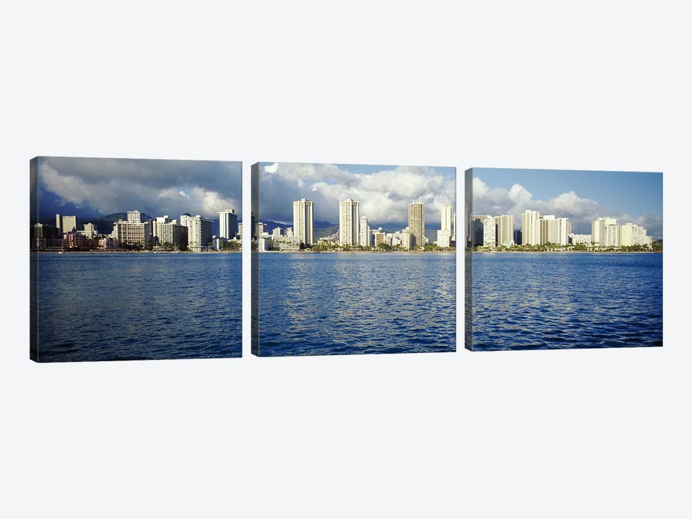 Buildings at the waterfront, Honolulu, Oahu, Hawaii, USA by Panoramic Images 3-piece Canvas Artwork
