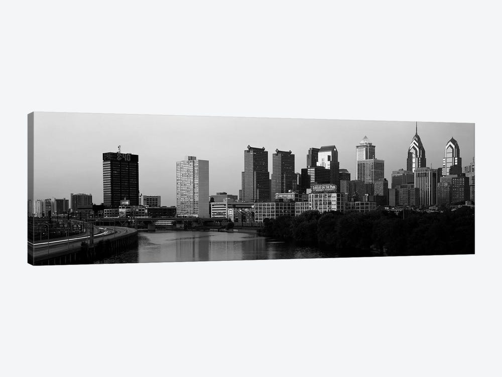 River passing through a citySchuylkill River, Philadelphia, Pennsylvania, USA by Panoramic Images 1-piece Canvas Art Print