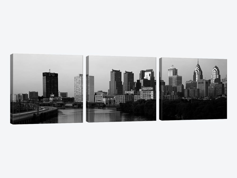 River passing through a citySchuylkill River, Philadelphia, Pennsylvania, USA by Panoramic Images 3-piece Art Print