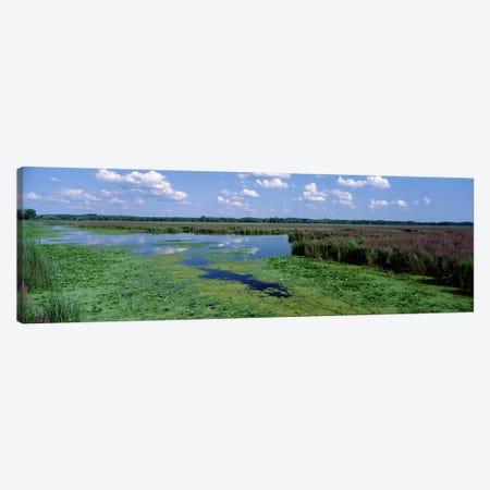 Marsh Landscape, Montezuma National Wildlife Refuge, Seneca County, New York, USA 3-Piece Canvas #PIM3499} by Panoramic Images Canvas Art Print
