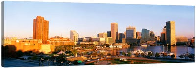 USA, Maryland, Baltimore, High angle view from Federal Hill Parkof Inner Harbor area and skyline Canvas Print #PIM349