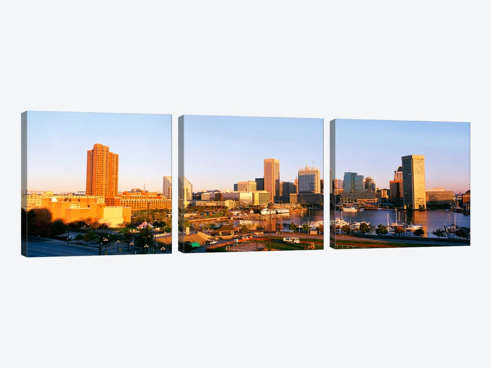 USA, Maryland, Baltimore, High angle view from Federal Hill Parkof Inner Harbor area and skyline by Panoramic Images 3-piece Art Print