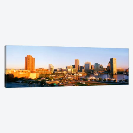 USA, Maryland, Baltimore, High angle view from Federal Hill Parkof Inner Harbor area and skyline Canvas Print #PIM349} by Panoramic Images Canvas Art Print