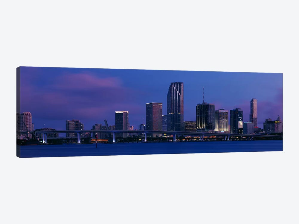 Buildings at the waterfront, Miami, Florida, USA by Panoramic Images 1-piece Canvas Artwork