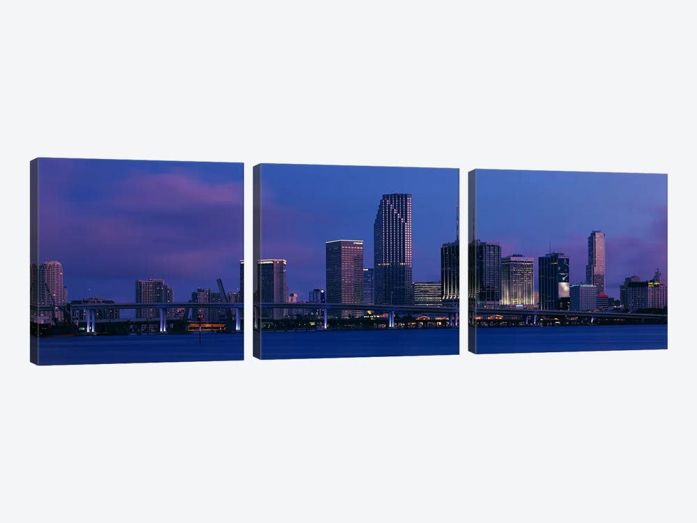 Buildings at the waterfront, Miami, Florida, USA by Panoramic Images 3-piece Canvas Art