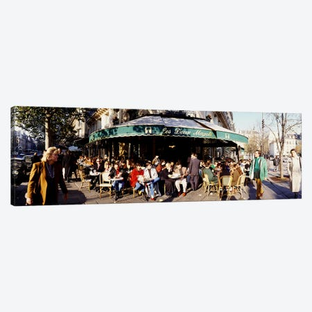 Sidewalk Café Scene, Les Deux Magots, Saint-Germain-des-Pres, Paris, France Canvas Print #PIM3510} by Panoramic Images Canvas Wall Art