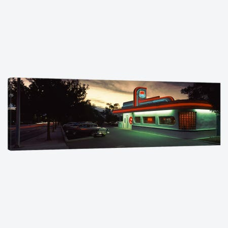An Illuminated 66 Diner, Route 66, Albuquerque, Bernalillo County, New Mexico, USA Canvas Print #PIM3518} by Panoramic Images Canvas Artwork