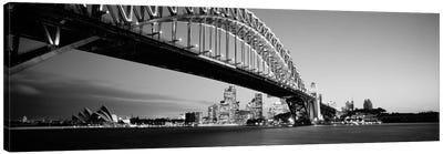Low angle view of a bridge, Sydney Harbor Bridge, Sydney, New South Wales, Australia (black & white) Canvas Art Print