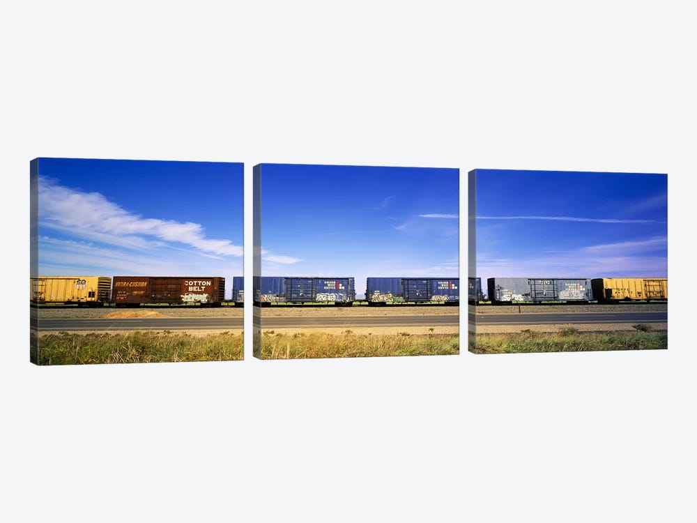 Boxcars Railroad CA by Panoramic Images 3-piece Canvas Wall Art