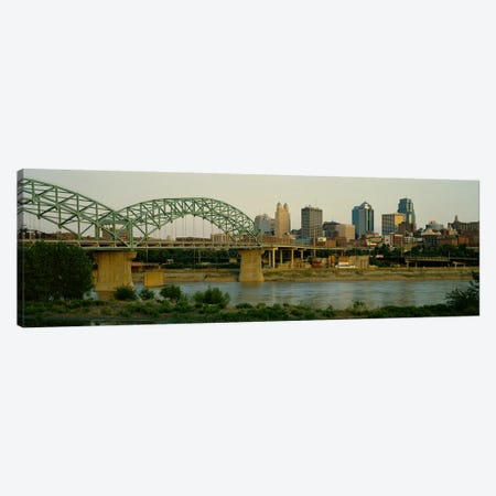 Bridge across the river, Kansas City, Missouri, USA Canvas Print #PIM3527} by Panoramic Images Canvas Wall Art