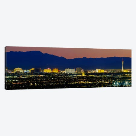 Aerial View Of Buildings Lit Up At Dusk, Las Vegas, Nevada, USA Canvas Print #PIM3529} by Panoramic Images Canvas Art Print