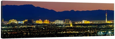 Aerial View Of Buildings Lit Up At Dusk, Las Vegas, Nevada, USA Canvas Art Print