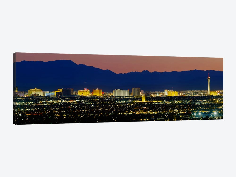 Aerial View Of Buildings Lit Up At Dusk, Las Vegas, Nevada, USA by Panoramic Images 1-piece Canvas Print