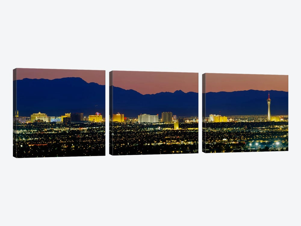 Aerial View Of Buildings Lit Up At Dusk, Las Vegas, Nevada, USA by Panoramic Images 3-piece Canvas Art Print