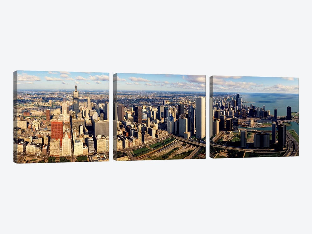 Aerial Chicago IL by Panoramic Images 3-piece Canvas Artwork