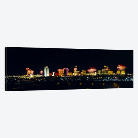 Buildings lit up at night, Las Vegas, Nevada, USA #3 Canvas Print #PIM3538} by Panoramic Images Canvas Artwork