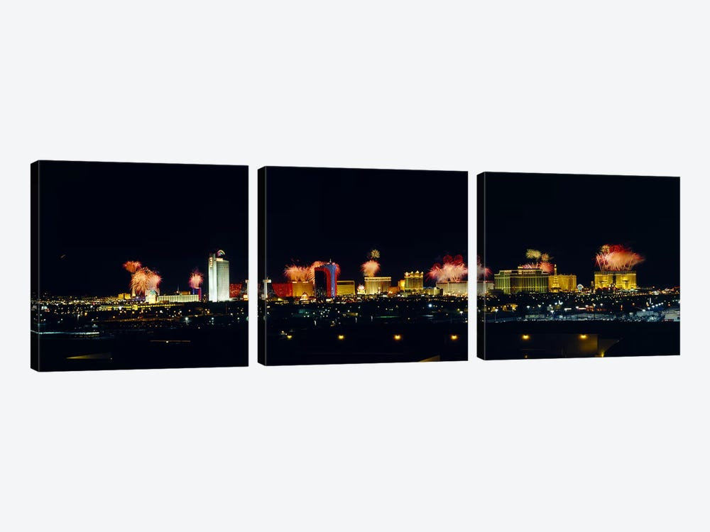 Buildings lit up at night, Las Vegas, Nevada, USA #3 by Panoramic Images 3-piece Canvas Print
