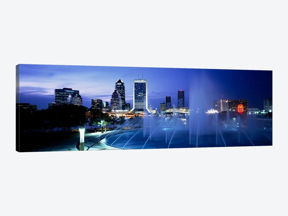 Fountain, Cityscape, Night, Jacksonville, Florida, USA by Panoramic Images 1-piece Canvas Art Print