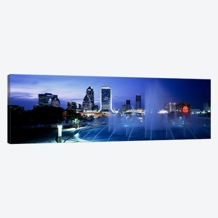 Fountain, Cityscape, Night, Jacksonville, Florida, USA Canvas Print #PIM3543} by Panoramic Images Canvas Art Print