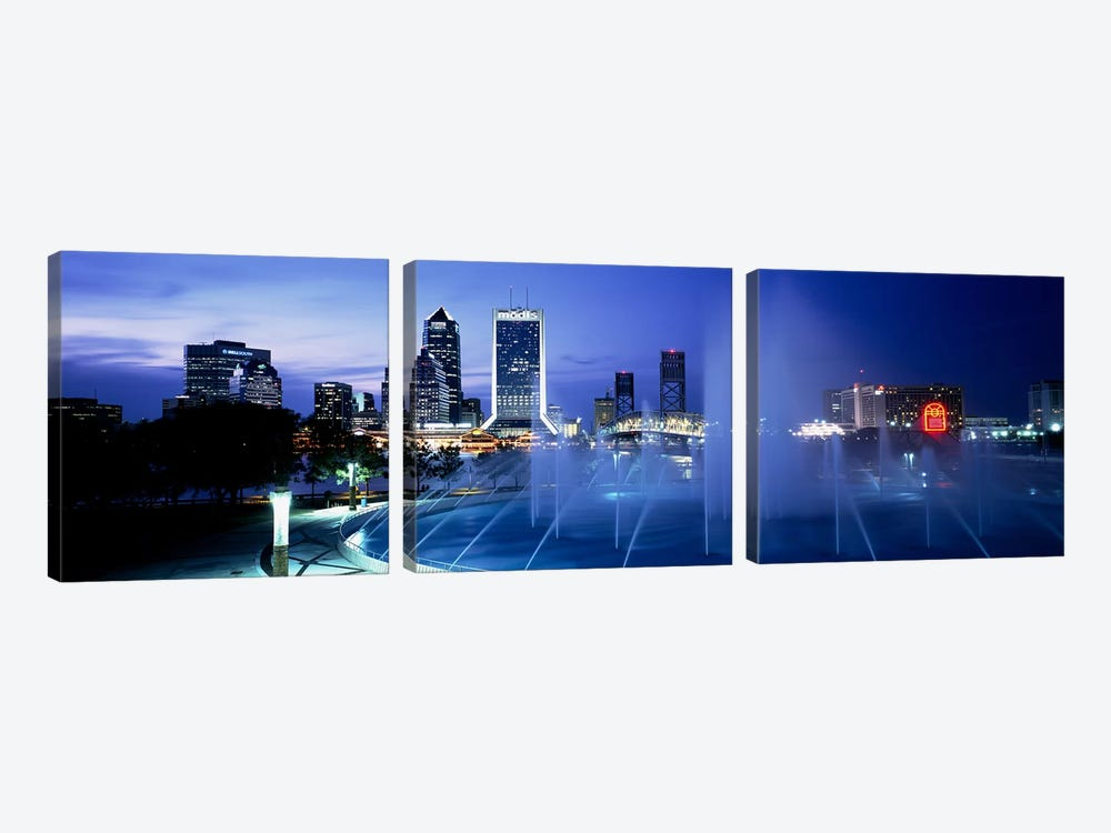 Fountain, Cityscape, Night, Jacksonville, Florida, USA by Panoramic Images 3-piece Canvas Art Print