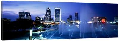 Fountain, Cityscape, Night, Jacksonville, Florida, USA Canvas Art Print