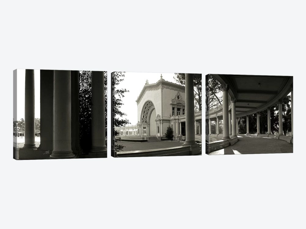 Pavilion in a park, Balboa Park, San Diego, California, USA by Panoramic Images 3-piece Canvas Wall Art