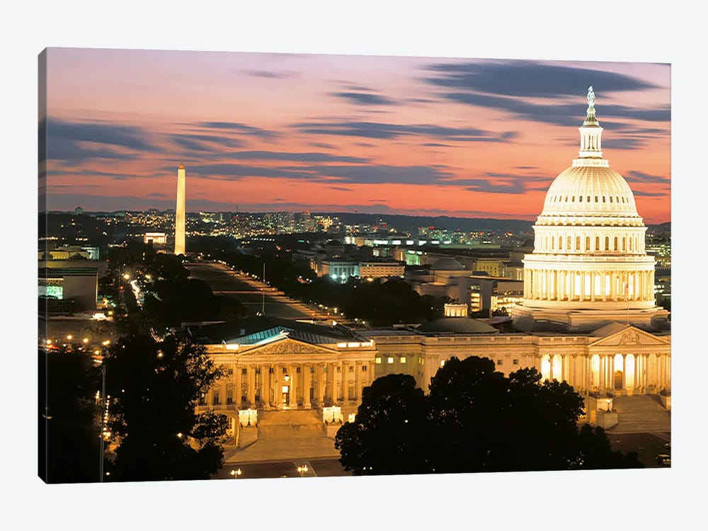 High angle view of a city lit up at dusk, Washington DC, USA 1-piece Canvas Wall Art