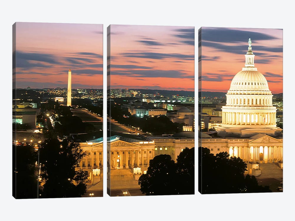 High angle view of a city lit up at dusk, Washington DC, USA by Panoramic Images 3-piece Canvas Wall Art