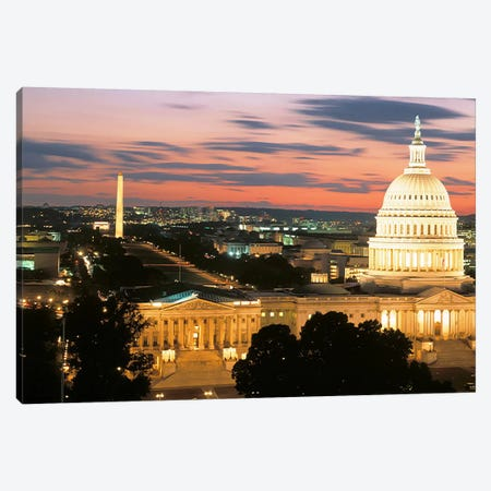 High angle view of a city lit up at dusk, Washington DC, USA 3-Piece Canvas #PIM3560} by Panoramic Images Canvas Art Print