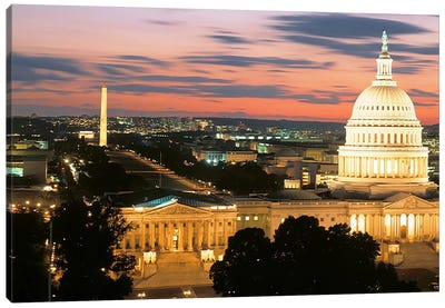 High angle view of a city lit up at dusk, Washington DC, USA Canvas Art Print