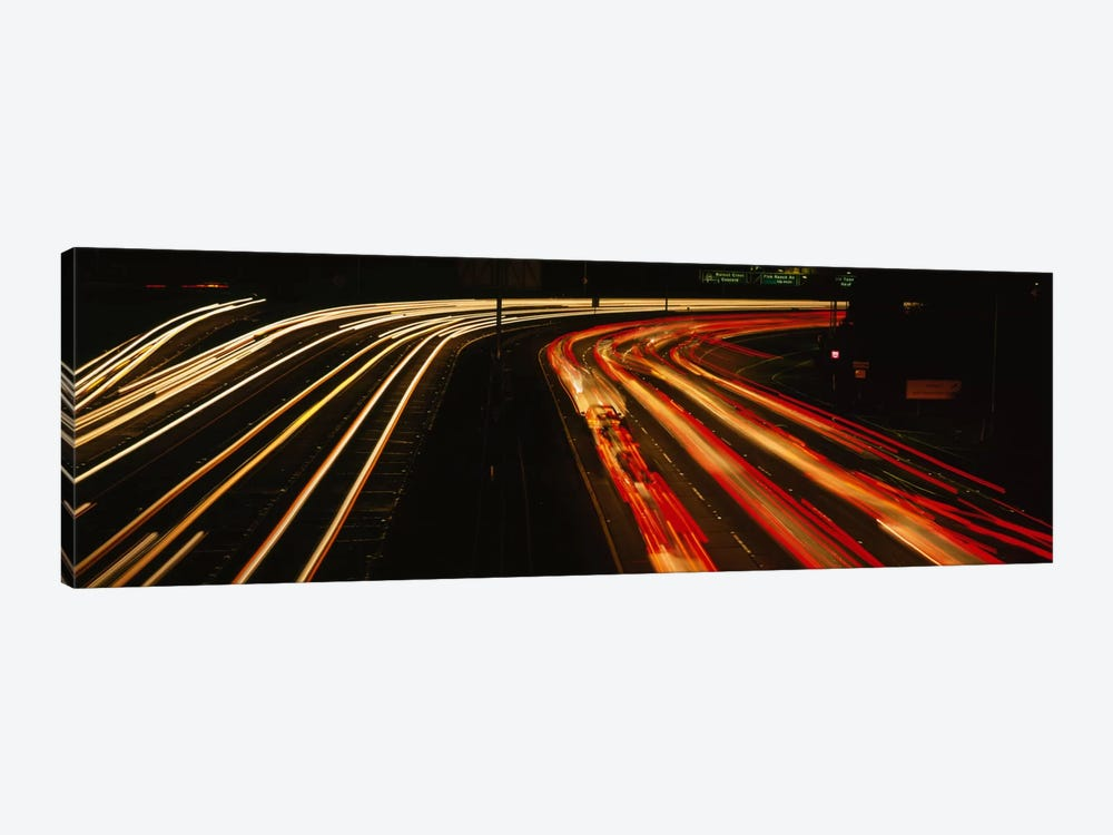 High angle view of traffic on a road at night, Oakland, California, USA by Panoramic Images 1-piece Canvas Art Print