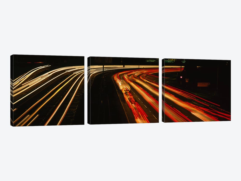 High angle view of traffic on a road at night, Oakland, California, USA by Panoramic Images 3-piece Art Print