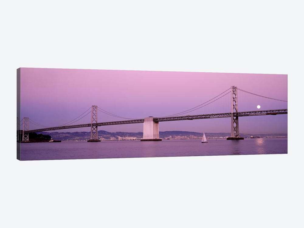 Suspension bridge over a bay, Bay Bridge, San Francisco, California, USA by Panoramic Images 1-piece Canvas Art