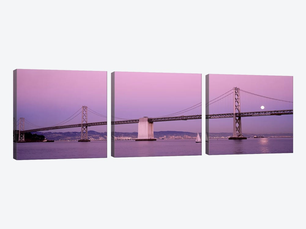Suspension bridge over a bay, Bay Bridge, San Francisco, California, USA by Panoramic Images 3-piece Canvas Art