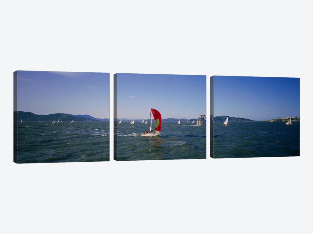 Sailboats in the water, San Francisco Bay, California, USA by Panoramic Images 3-piece Canvas Artwork