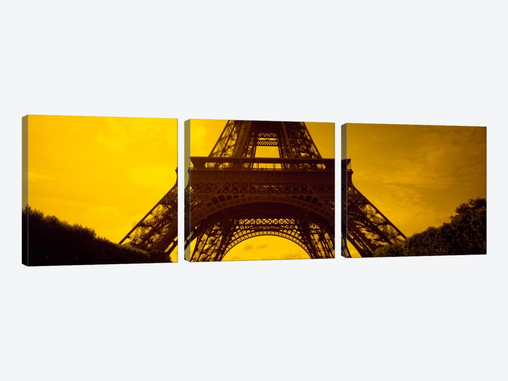Sauvestre's Arches & Second Level, Eiffel Tower, Paris, Ile-De-France, France 3-piece Canvas Art Print