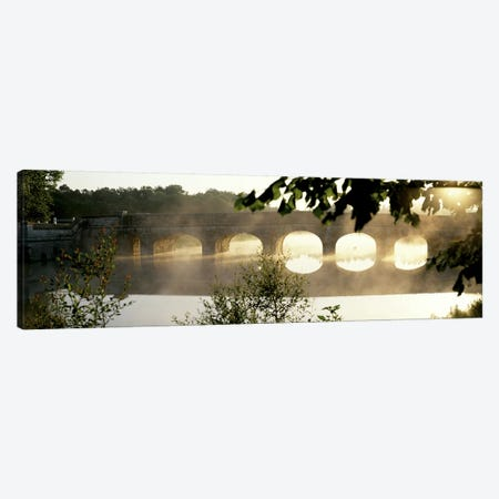 Morning Mist Around A Stone Bridge Crossing The Cosson, Loire Valley, France 3-Piece Canvas #PIM3574} by Panoramic Images Art Print