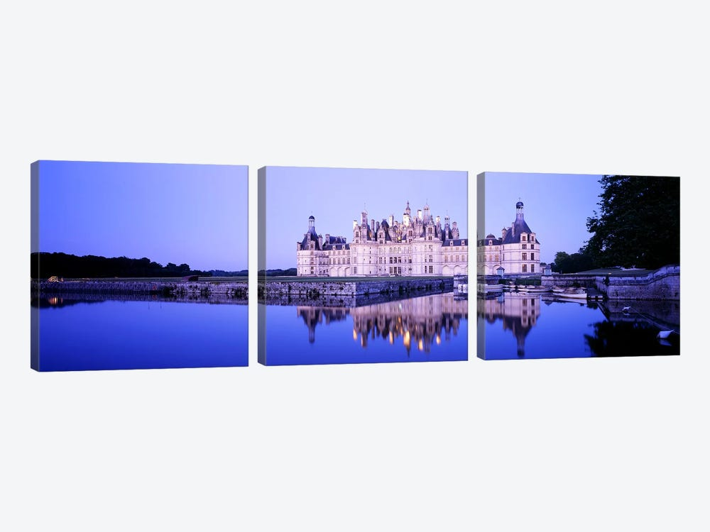 Chateau de Chambord At Dusk, Loire Valley, France by Panoramic Images 3-piece Canvas Artwork