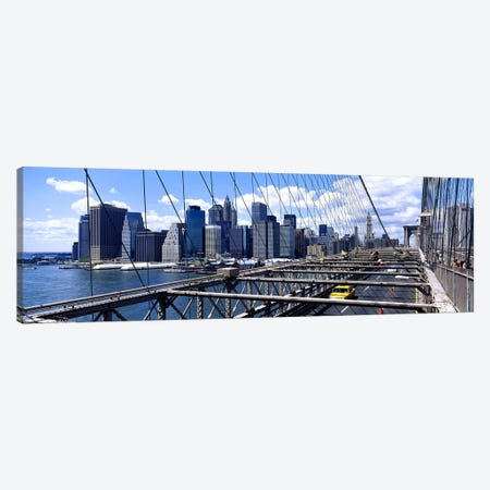Traffic on a bridgeBrooklyn Bridge, Manhattan, New York City, New York State, USA Canvas Print #PIM3583} by Panoramic Images Art Print