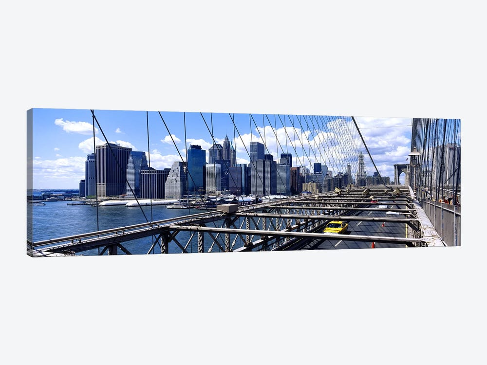 Traffic on a bridgeBrooklyn Bridge, Manhattan, New York City, New York State, USA by Panoramic Images 1-piece Canvas Print