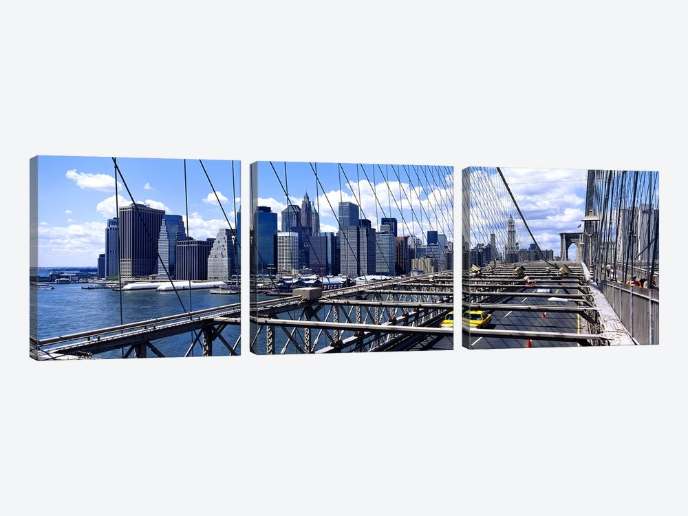 Traffic on a bridgeBrooklyn Bridge, Manhattan, New York City, New York State, USA by Panoramic Images 3-piece Art Print