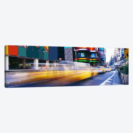 Blurred Motion View Of Traffic, Times Square, New York City, New York, USA Canvas Print #PIM3587} by Panoramic Images Canvas Wall Art