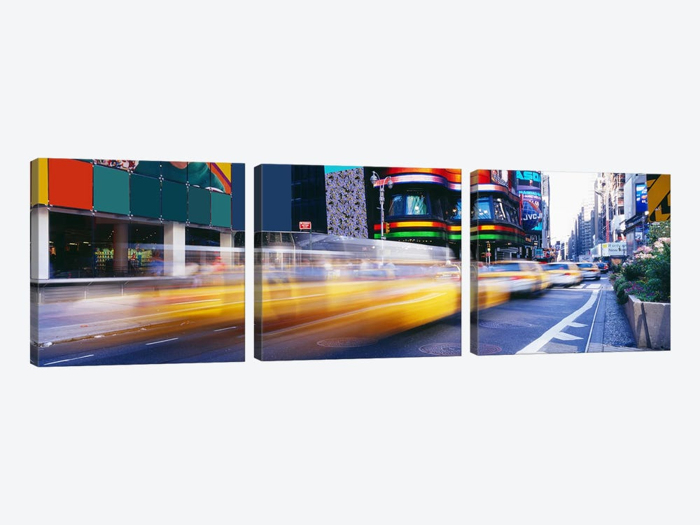Blurred Motion View Of Traffic, Times Square, New York City, New York, USA by Panoramic Images 3-piece Art Print