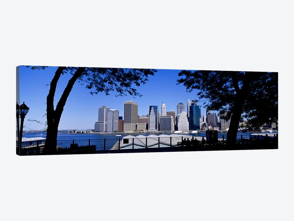 Skyscrapers on the waterfront, Manhattan, New York City, New York State, USA 1-piece Canvas Wall Art