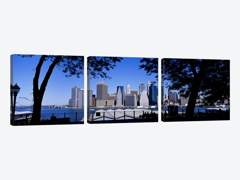Skyscrapers on the waterfront, Manhattan, New York City, New York State, USA by Panoramic Images 3-piece Canvas Art