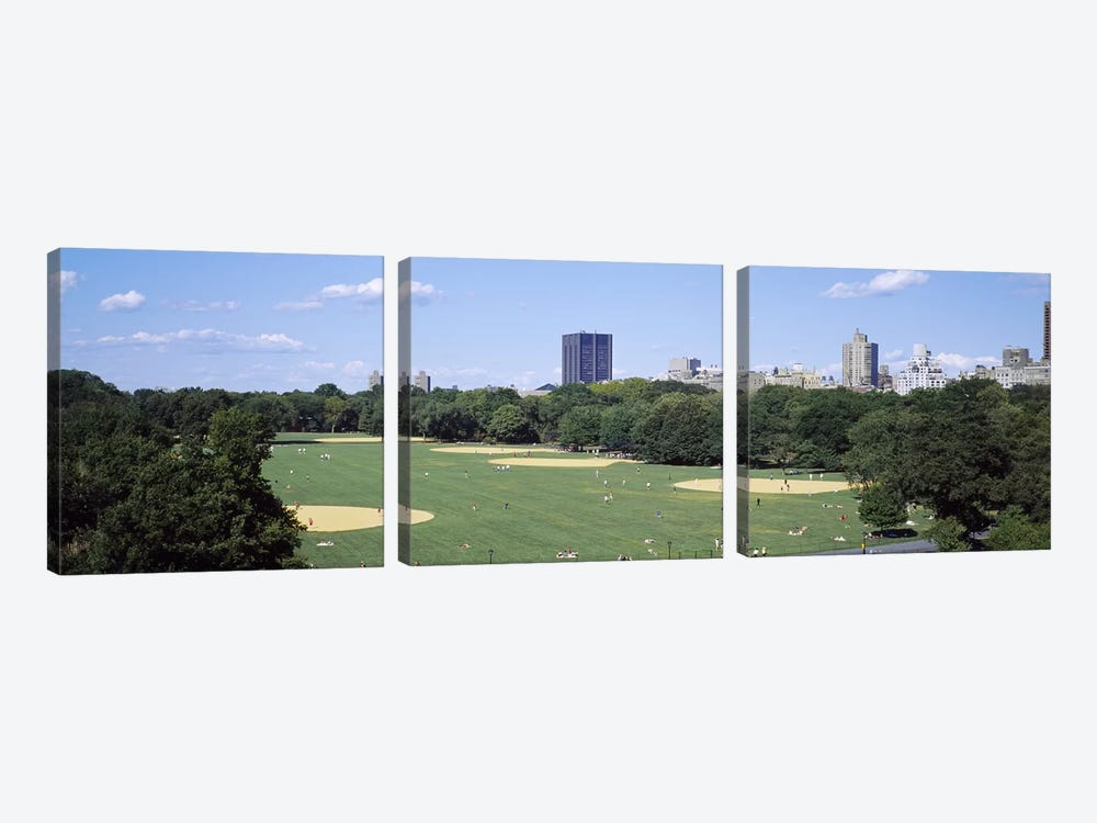 High angle view of the Great LawnCentral Park, Manhattan, New York City, New York State, USA by Panoramic Images 3-piece Canvas Artwork