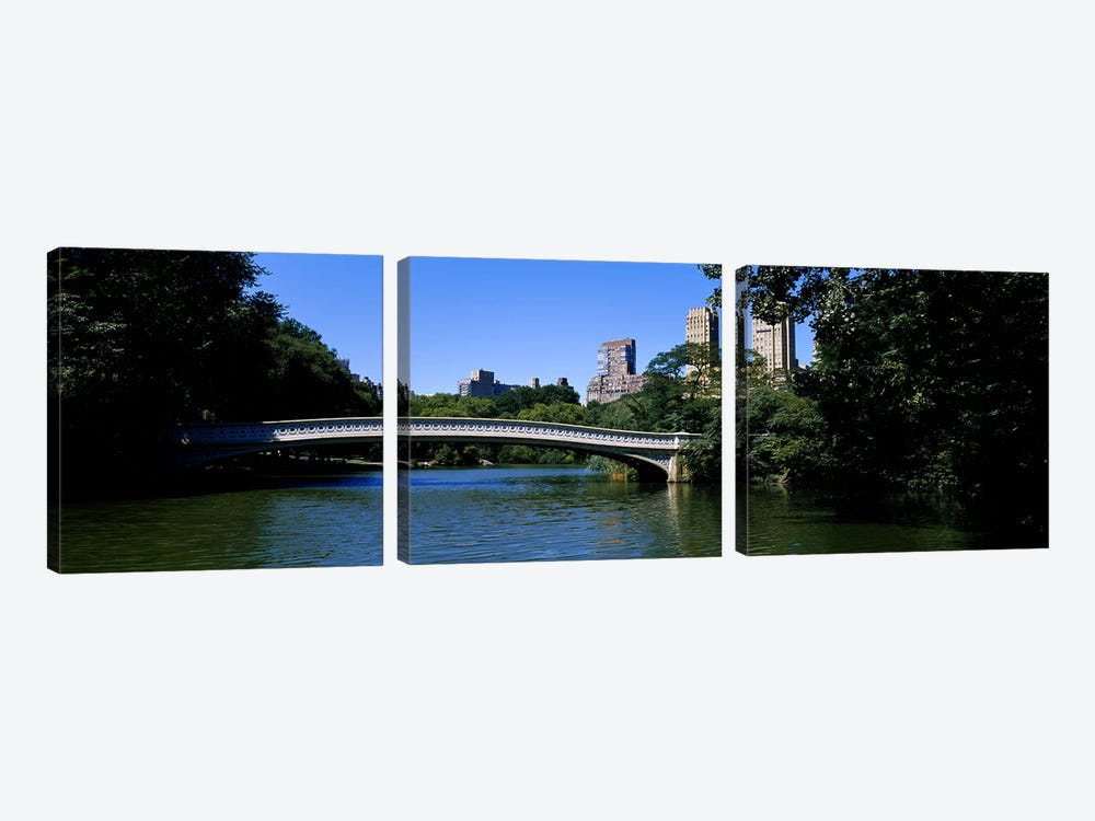 Bridge Over A LakeBow Bridge, Manhattan, NYC, New York City, New York State, USA by Panoramic Images 3-piece Canvas Art Print