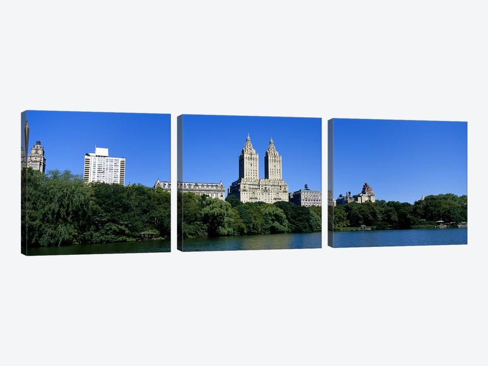 Buildings on the bank of a lakeManhattan, New York City, New York State, USA by Panoramic Images 3-piece Canvas Art